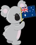 Australian Cartoon Koala Holding An Aussie Flag