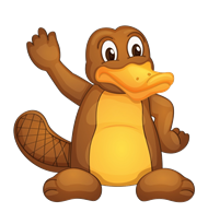 Australian Cartoon Platypus Waving