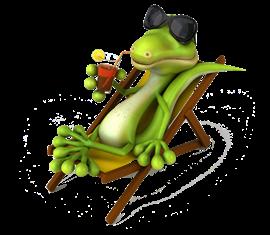 Cartoon Australian Lizard Flatout On A Pool Chair Drinking