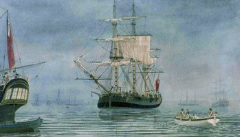 First Fleet Ship - The Charlotte - Anchored at Portsmouth in 1787 before leaving on the voyage to Australia