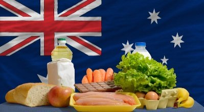 Australian Food in front of the Australian Flag