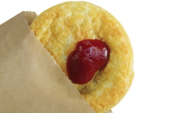 Australian Meat Pie With Sauce in a Bag
