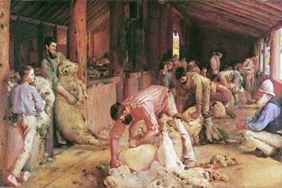 Shearing The Rams - Painting by Tom Roberts