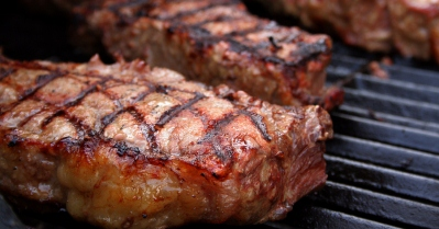 Beef Steaks on a BBQ Grill