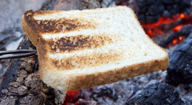 Cooking Toast On A Wood Burning Stove