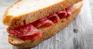 Crusty Bread & Salami Sandwich