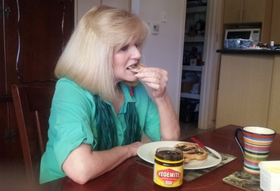 Suzie Eating Vegemite on Toast For Breakfast