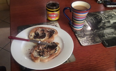 Vegemite on Toast with a cup of Tea
