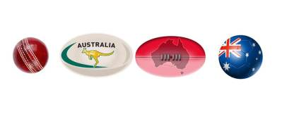 Australian Sports Balls - cricket ball, rugby football, Aussie rules football & soccer ball