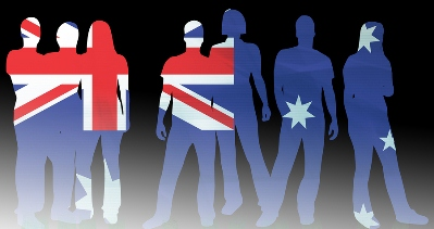Australian People In Front Of Australian Flag