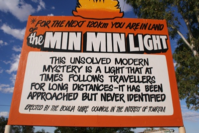 Boulia Queensland Sign About Min Min Light
