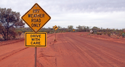 Outback Dry Weather Road Only Sign