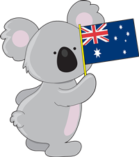 Australian Cartoon Koala Holding An Aussie Flag