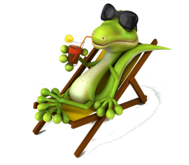 Cartoon Australian Lizard Flatout On A Pool Chair Drinking
