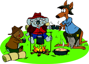 Cartoon Mates Kangaroo, Koala And Wombat Sharing A Billy Tea And Damper Around A Fire