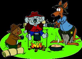 Cartoon Mates Kangaroo, Koala And Wombat Sharing A Billy Tea And Damper Around A Fire
