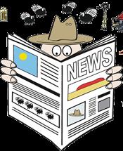 Aussie Cartoon Character Reading a Newspaper