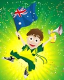 Illustration of an Australian waving a flag with the a background of the Australian National Colours of Green & Gold