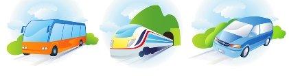Bus - Train - Car Icons