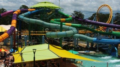The Cyclone Roller Coaster at Dreamworld combined with the Temple of Huey and Little Ripper at White Water World