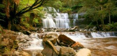 A Beautiful Waterfall In The Island State of Tasmania